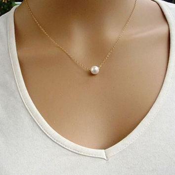 Essential 2016 New Fashion Women Simple Imitate Pearl Bib Choker Statement Collar Necklace Jun14