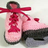 Baby Girl-Pink Ice skates-unique handmade gift--Crochet-ribbon laces