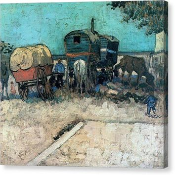 Gypsy Camp With Horse Carriage - Canvas Print