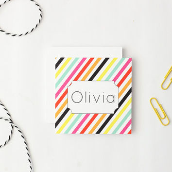 Small Gift Enclosure Cards Personalized Mini Cards Custom Birthday Tags Preppy Colorful Stripe Cards with Envelopes All Occasion / Set of 25