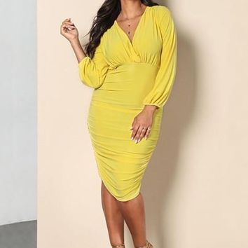 lemonade Plus Size midi Long Sleeve Women's ruched Dress yellow blue