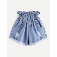 Yeah I'Ll Be There Shirred Frill Trim Ripped Rolled Hem Denim Shorts - Blue