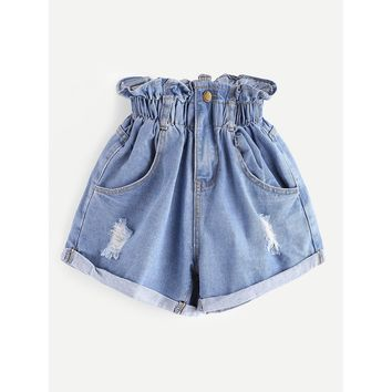 Blue Regular High Waist Straight Leg Shorts