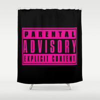 Parental Advisor Explicit Content Shower Curtain by Poppo Inc. | Society6