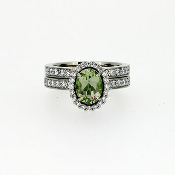 Perdot and diamond halo engagement ring set, white gold, diamond halo, green engagement, oval peridot ring, diamond wedding, unique, vintage