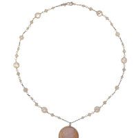 Silver Cameo Pearl Necklace