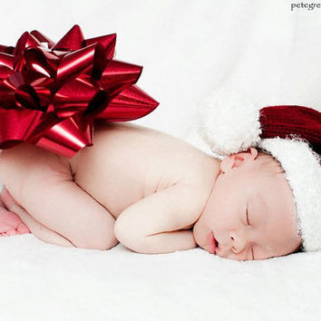 Christmas in July, Knit Baby Hat , Christmas Newborn Hat, Newborn Hat, Baby Boy Hats, Baby Girl Hats, Newborn Photography Prop, Infant Hat