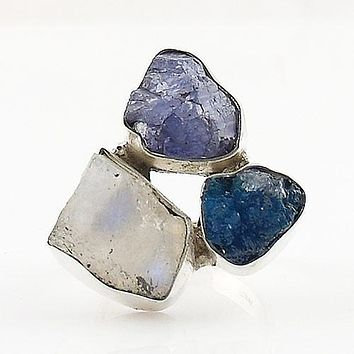 Tanzanite Rough, Moonstone Rough & Cavansite Crystal Ring