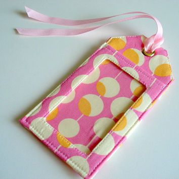 Fabric Luggage Tag - Pink Martini by Amy Butler