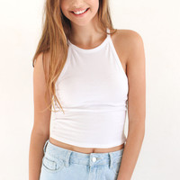 Sleeveless Round Neck Crop Top - White