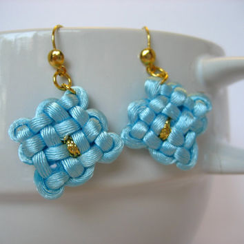 Vintage Handmade Chinese Macrame Earrings, Macrame Jewelry, Knotted Earrings, Nylon Cord Jewelry, Asian Jewelry, Oriental Earrings