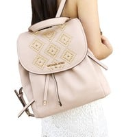 Michael Kors Riley Large Backpack Ballet Pink Gold Studded Drawstring Flap