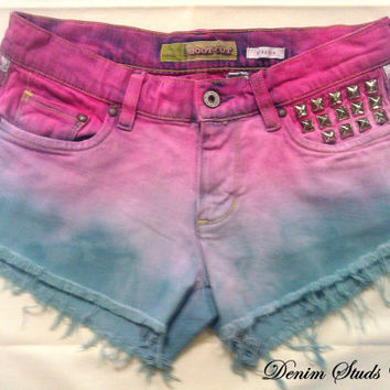 Cotton Candy Mid Rise Denim Shorts Dyed From