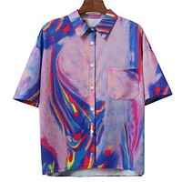 Short Sleeve Technicolor Button Up Shirt