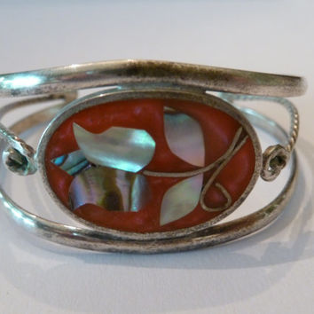 Vintage Alpaca Silver Abalone Coral Cuff Bracelet Scroll Salmon Colored Inlay with Abalone Flower Southwestern Boho Spring Summer
