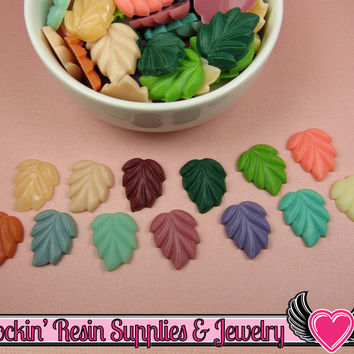 6 pcs LEAVES Flatback Resin Decoden Cabochons 21x18mm