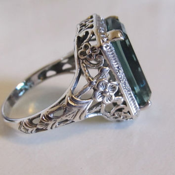 Emerald Sterling Silver Filigree Statement Ring/ Antique Vintage Art Deco Victorian Floral