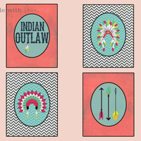 """Indian Outlaw Digital Print Set 8""""x10"""" Downloadable Wall Art Wall Décor Wall Hanging Pink Teal Black White Chevron Stripes"""