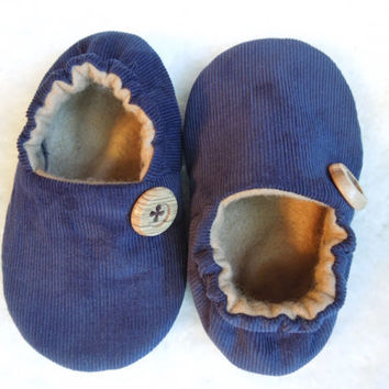 baby toddler shoes 'Levi' dark BLuE CoRDuRoY with tan accents ....soft soled shoes...by birdy boots on etsy