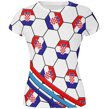 World Cup Croatia Soccer Ball All Over Juniors T Shirt