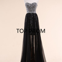 Black Prom Dress Homecoming Dress evening dress A-line prom dress formal dress Cocktail Dress  long prom dress beading dress