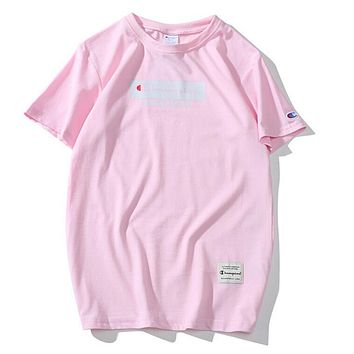 Champion Spring Summer New Trending Unisex Stylish Print Short Sleeve Pure Cotton T-Shirt Top Pink I12094-1