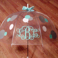 "46"" Clear Dome Monogrammed Umbrella"