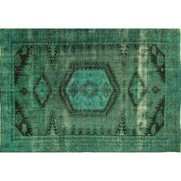 """Pre-owned Teal Blue Overdyed Wool Area Rug - 9'2"""" x 13'1"""""""