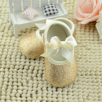 2017 Special Offer Real Solid Glitter Baby Girl Shoes Sneaker Anti-slip Princess Soft Sole Toddler First Walkers High Quality