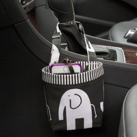 Car Cellphone Caddy ~ Black Elephant ~ Black Striped Band~ Center Console Handle