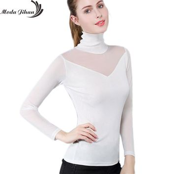 Moda Jihan Women's Mesh Bottoming Shirt Stretchable High Collar See Through Tops Autumn Winter Female Clothing Sexy Plus Size