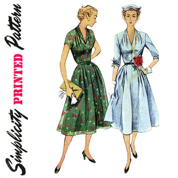 1950s Dress Pattern Bust 32 Uncut Simplicity 3931 Fit and Flare Draped Neckline Sheer Overlay Day or Evening Womens Vintage Sewing Patterns
