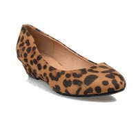 Leopard Suede Closed Toe Heeled Flats