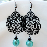 Arabesque Green and Black Mediterranean Summer Earrings