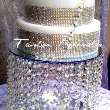 SALE SALE SALE Wedding Cake Stand with Crystals/Chandelier/ Waterfall Cascade Crystal Cake Stand. Stunning crystal cake stand.