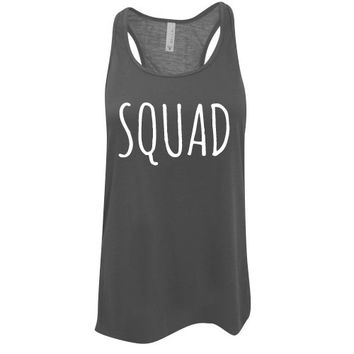 Custom Ink Colors,  Squad,  Flowy Racerback, Bachelorette Party Tank Top, Bridal Party Tank Top, Bridal Top, Wedding Top