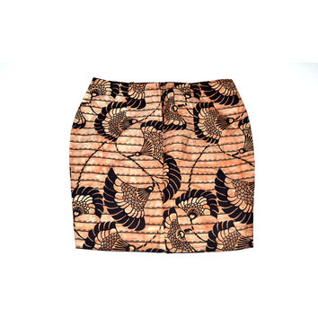 Peach Ankara Print Pencil Mini skirt