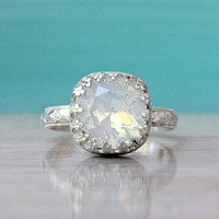 Swarovski White opal crystal ring sterling silver floral band, crown setting, vintage style, handmade ring, October birthstone, shiny finish