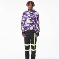 Multicamo Oversized Hoodie | Purple