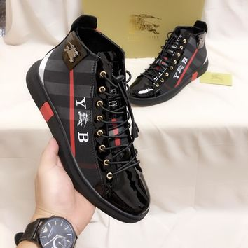 Burberry Trending Men Women Black Leather Side Zip Lace-up Ankle Boots Shoes High Boots