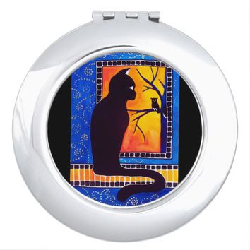 Insomnia - Cat And Owl - Whimsical Black Cat Art Makeup Mirror