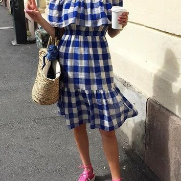 Blue Plaid Ruffle Draped Off Shoulder Backless Sweet Cute Going out Midi Dress