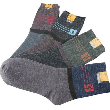 10 pieces 5 pairs Winter Warm Socks Casual Wool Socks For Men Fashion Patchwork Male Crew Socks Mix Color Calcetines Masculinos