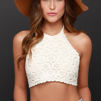 We Can't Stop Cream Crochet Halter Crop Top
