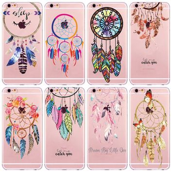 Watercolor Dreamcatcher Feather Soft TPU Transparent Case for iPhone 6 6s 7 Plus 5 5S SE 7Plus Case Dream Catcher Henna Flower