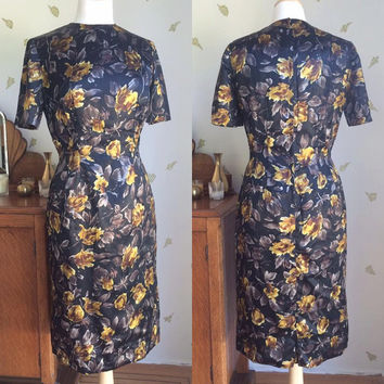 1960's Satin Dress ~ Black Yellow + Cocoa Floral Print ~ 29 Waist ~ Straight Skirt ~ Vintage 60s