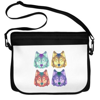 Geometric Wolf Head Pop Art Neoprene Laptop Shoulder Bag by TooLoud