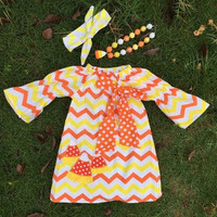 Girls Candy Corn Dress, Candy Corn Outfit, Girls Halloween Dress, Toddler Girl Halloween Dress, Chevron Halloween Dress, Candy Corn Necklace
