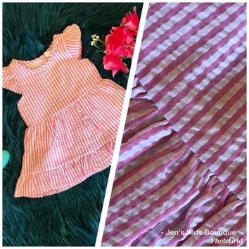 Spring Loves Seersucker Pink Stripped Dress