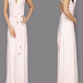 Streetstyle  Casual Pink Plain Cross Back Sashes Multi Way Cocktail Party Maxi Dress